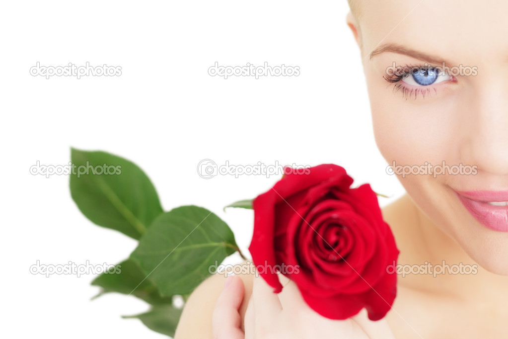 Beautiful girl with a red rose on white background — Stock Photo #4193313