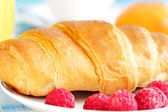 Croissant and raspberries on a plate — Stockfoto