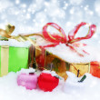Christmas decorations. Gift boxes and balls — Stock Photo