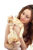 Ragazza e gatto britannico isolato — Foto Stock
