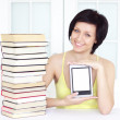 Young woman with ebook — Stock Photo