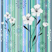 シームレスな白青ストライプ花柄 — ストックベクタ