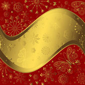 Red and golden christmas frame — Stock Vector