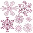 Set dark lilas snowflakes — Stock Vector