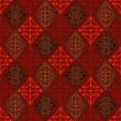 Abstract seamless red-black-gold vintage pattern - Stok Vektör