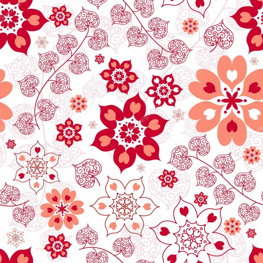 White seamless floral valentine pattern with hearts  (vector)  Stock Vector #4133582