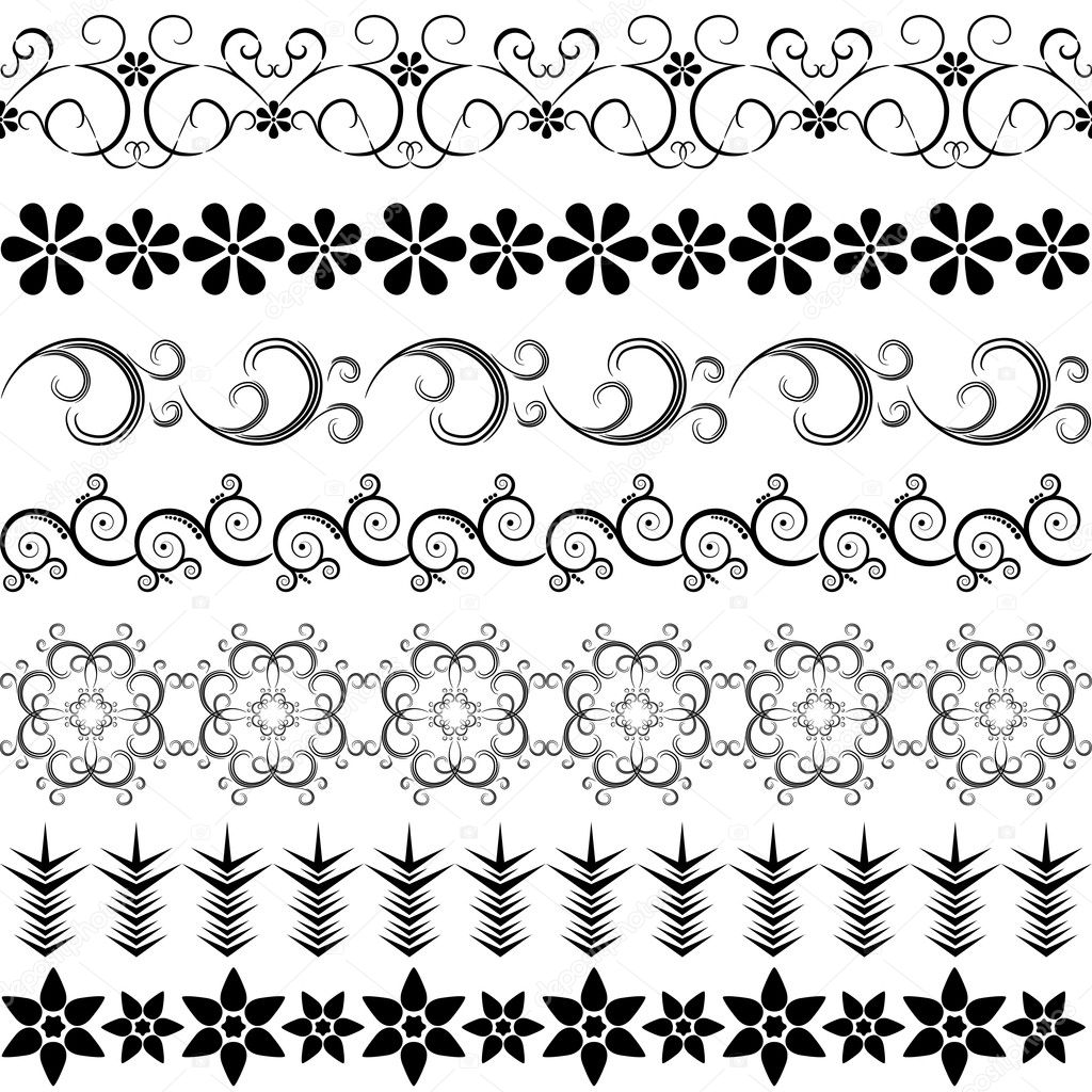 Black effortless borders at the white background (vector) — ベクター素材ストック #4408212