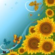 Spring background with sunflowers — Grafika wektorowa