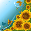 Spring background with sunflowers — Imagen vectorial