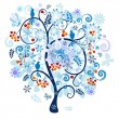 Winter decorative tree — Stock Vector