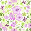 Stock Vector: Spring repeating white floral pattern