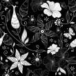 Black effortless floral pattern — Stok Vektör
