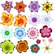 Collection decorative flowers — Stock Vector