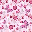 Stock Vector: Pink seamless floral pattern