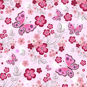 Pink seamless floral pattern — Stock Vector