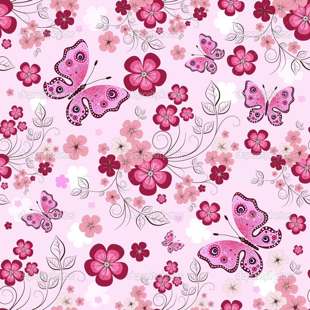Pink seamless floral pattern with flowers and butterflies (vector) — Image vectorielle #4650997