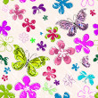 Floral seamless grunge pattern — Stock Vector