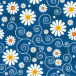 Stock Vector: Dark blue floral pattern