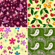 Set seamless spring patterns — Stock Vector