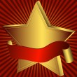 Gold star with red ribbon — Stock Vector