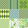 Stock Vector: Set green seamless patterns