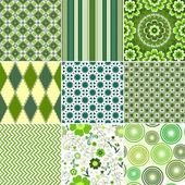 Set green seamless patterns — Stock Vector