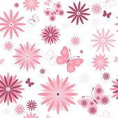 Motif floral blanc sans couture — Vecteur