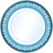 White and blue plate — Stock Vector