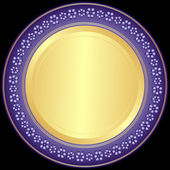 Violet-golden decorative plate — Stock Vector