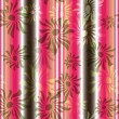 Pink-green floral seamless striped pattern - Stock Vector