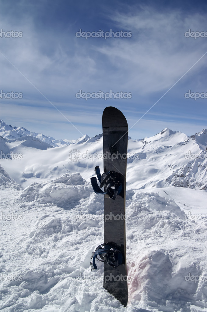 Snowboard against the hight mountains. Caucasus. — Stock Photo #3967445