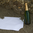 Blank postcard and champagne bottle — Stock Photo