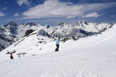 Snowboarder on the slope — Foto Stock
