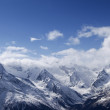 Panorama Mountains in clouds — Stock Photo