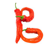 Letter B composed of chili peppers — Stock Photo