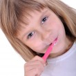 Child cleaning teeth — Stock Photo