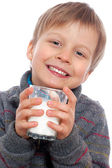 Boy with milk — Stock Photo