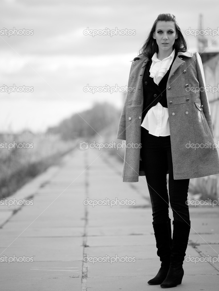 Loneliness in the city. woman's black and white portrait  Stock Photo #4133571