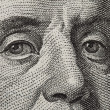 Macro face franklin 100 currency . — Stock Photo