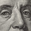 Macro face franklin 100 currency . — Stock Photo #5210317