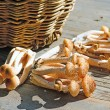 Stock Photo: Basket with eatable mushrooms