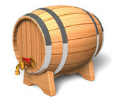 Wooden barrel with valve — Stock Photo