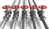 Potrubí s ventily — Stock fotografie