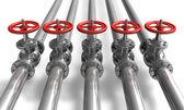 Rörledning med ventiler — Stockfoto