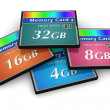 Set of CompactFlash memory cards — Stock Photo
