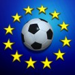 Stock Photo: Soccer ball on EuropeUnion flag