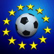 Soccer ball on European Union flag - Stock Photo