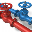 Red and blue pipelines - Stock Photo