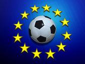 Soccer ball on European Union flag — Stock Photo