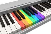 Rainbow piano keyboard — Stock Photo